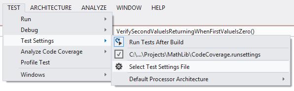 Select runsettings file
