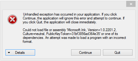 Could not load file or assembly - error