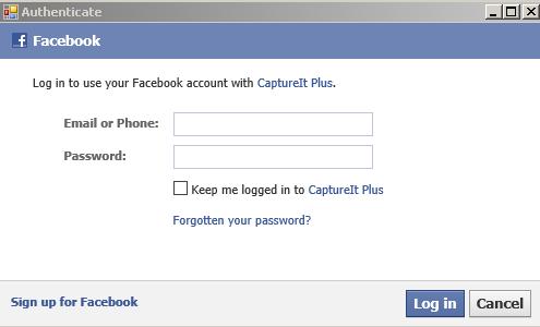 Facebook Authentication Dialog