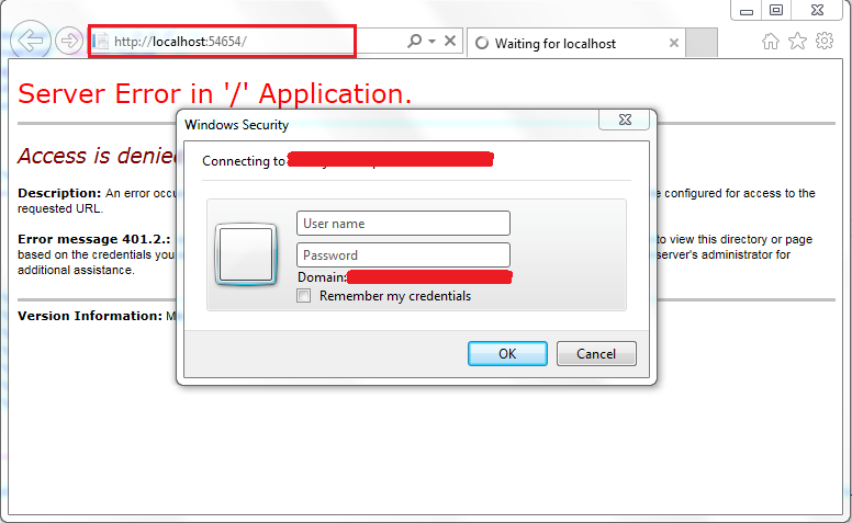 ASP.Net application with Windows Authentication in IIS Express