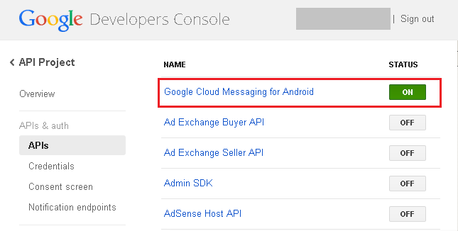 Google Developers Console - Push Notification enabled