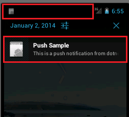 Push Notification received in the emulator