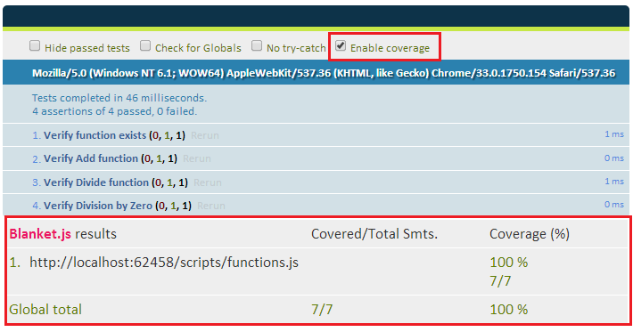 Code coverage option enabled