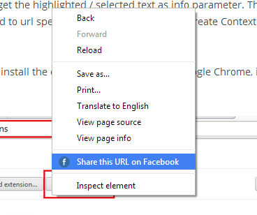 Share on facebook from chrome extension