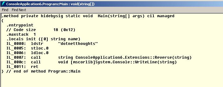 IL Main - Invoking static method