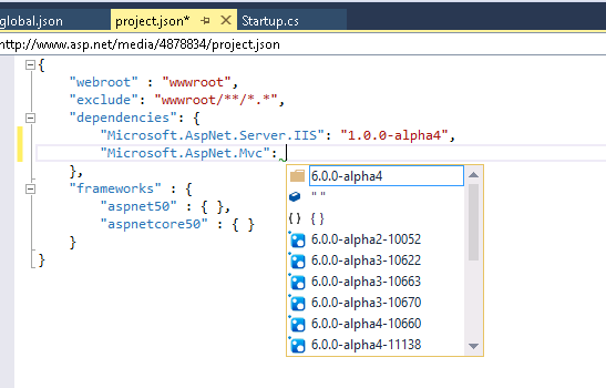 Intellisense in Project.json for package version as well
