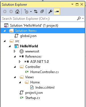 Solution Explorer - With Controllers and Views