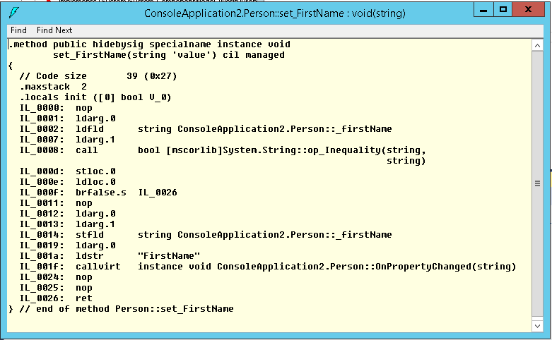 IL code generated for nameof operator