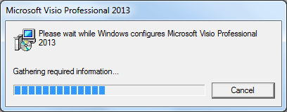 Windows is trying to configure Visio