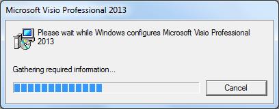 windows is trying to configure visio - Windows Visio 2013