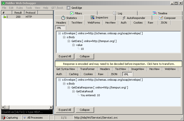 WCF Request and Response using Fiddler