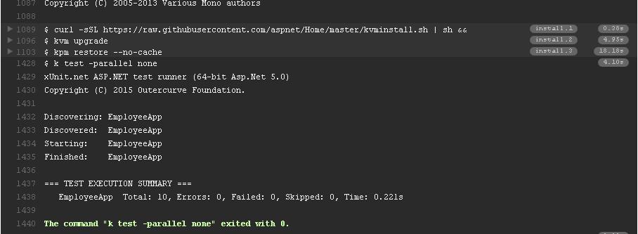 Travis CI build output