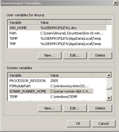 Sonar Runner - System variables