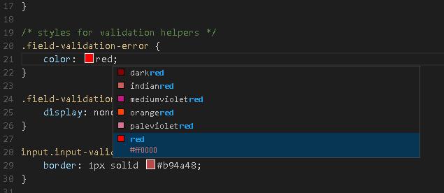 CSS - Intellisense