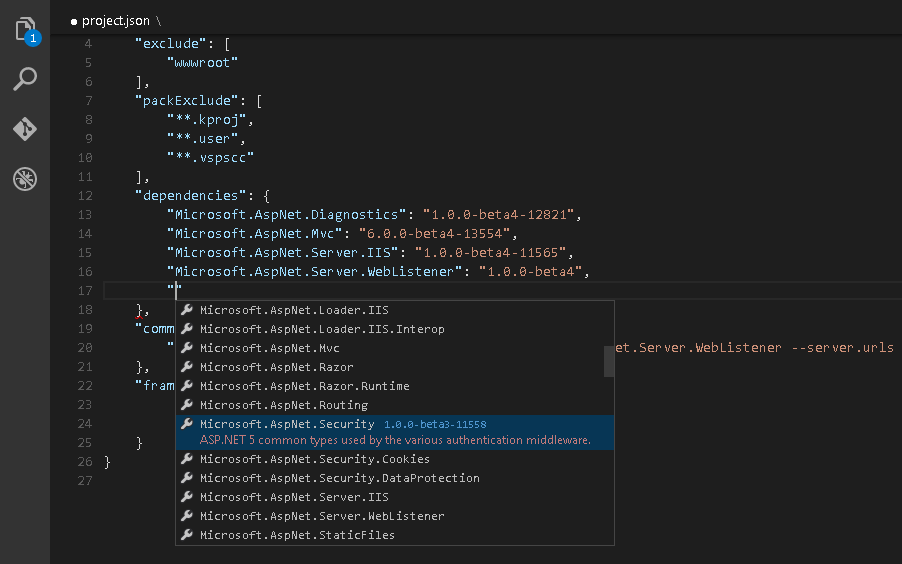 NuGet reference management in project.json