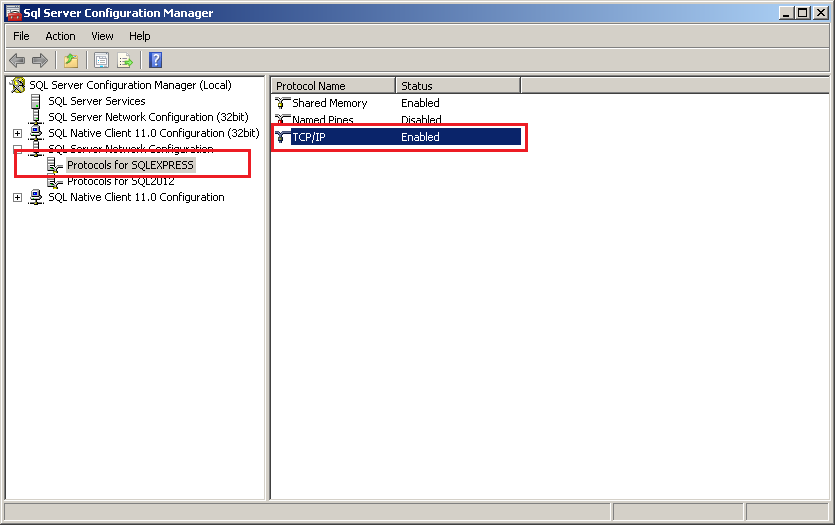 SQL Server protocol configuration