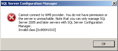 Cannot connect to WMI provider. You do not have permission or the server is unreachable