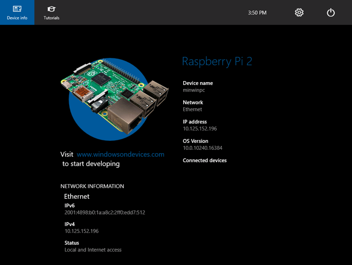 Window10 IoT core - Raspberry Pi 2