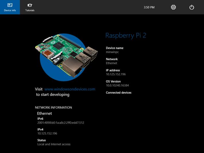 Window10 IoT core - Raspberry Pi 2