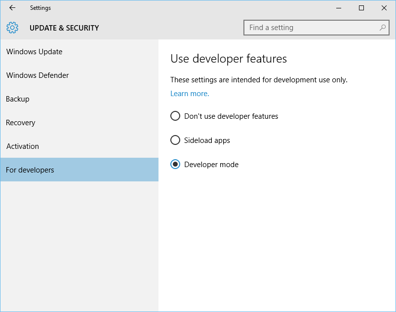 Windows 10 - Enable Developer mode