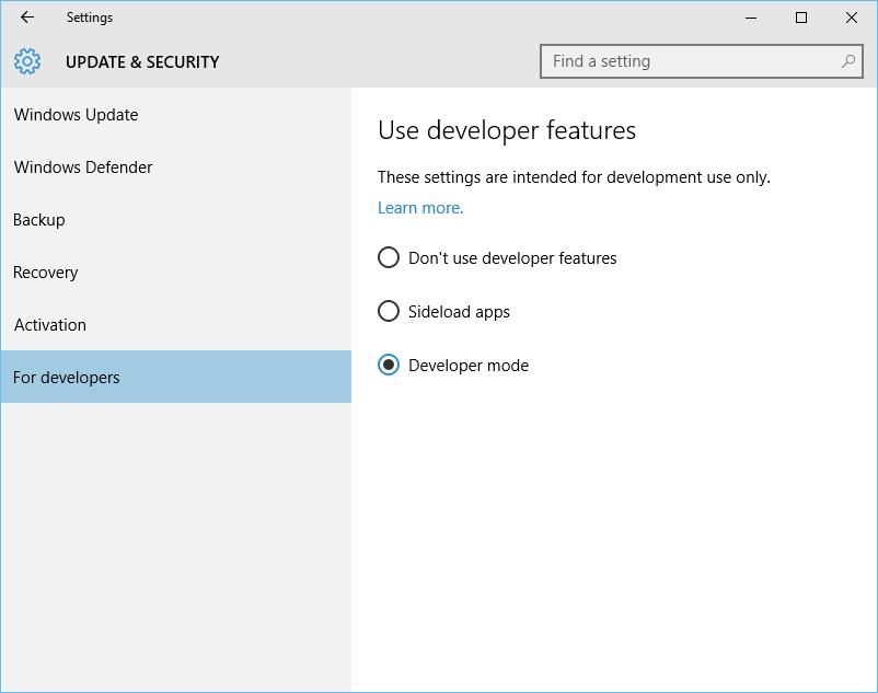 Windows 10 - Enable Developer mode