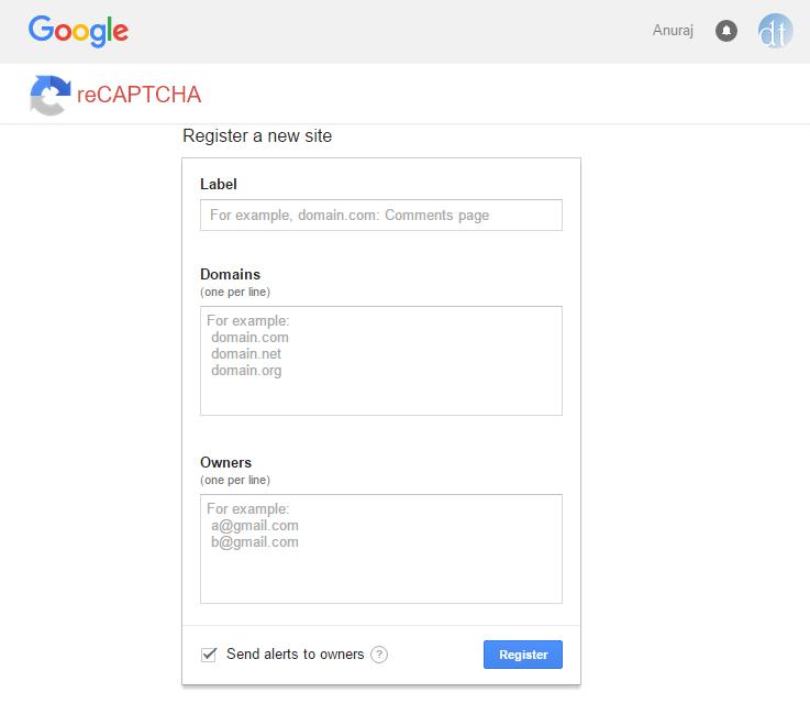 reCaptcha Registration