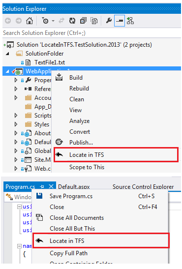 Locate in TFS - Visual Studio Extension