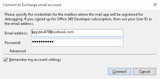 Connect to Office 365 mail account