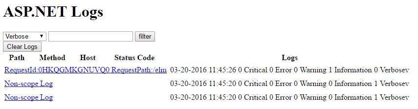 ASP.NET Core ELM Log