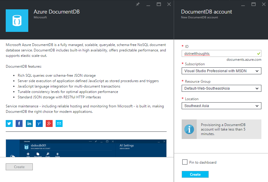 Azure Document DB - Create Account