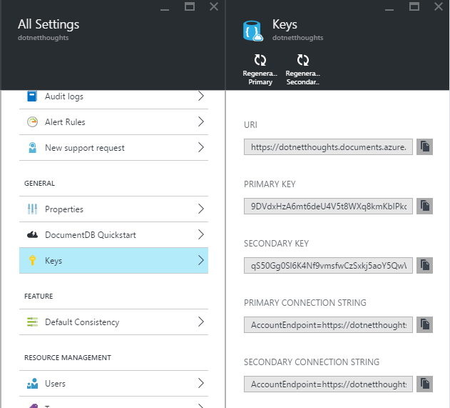 Azure Document DB - Keys