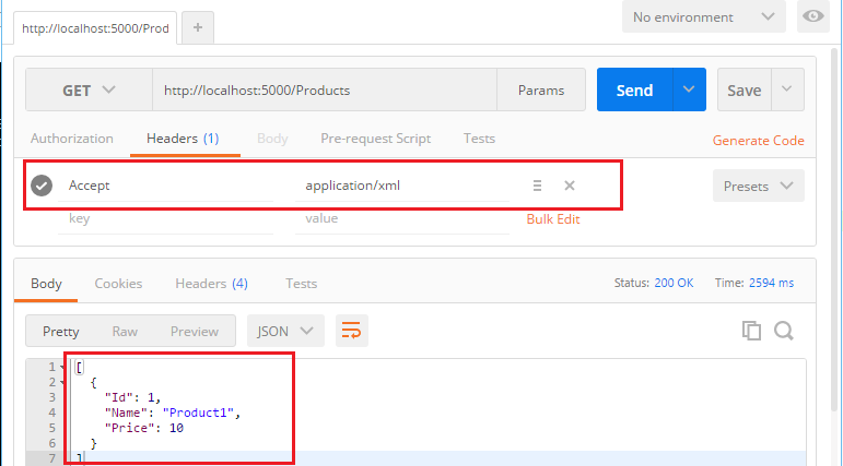 Postman - HTTP Request with application/xml accept header