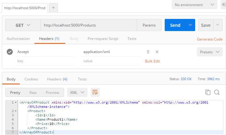 Postman - HTTP Request with application/xml accept header with XML Response