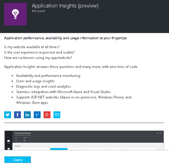 Application Insights Create Page