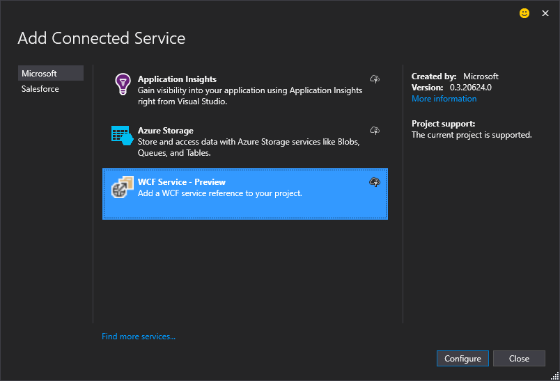 Add Connected Service Dialog