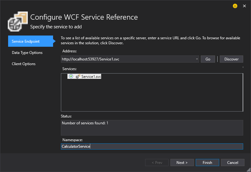 Configure WCF Service Reference Dialog