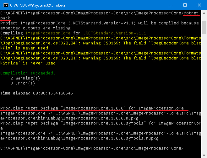 dotnet pack command and result