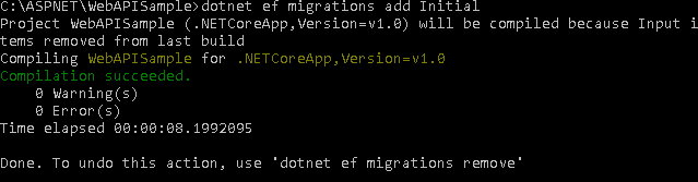 dotnet ef migrations add Initial result