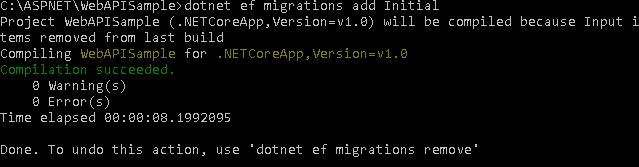dotnet ef migrations add Initial result