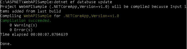 dotnet ef update database result