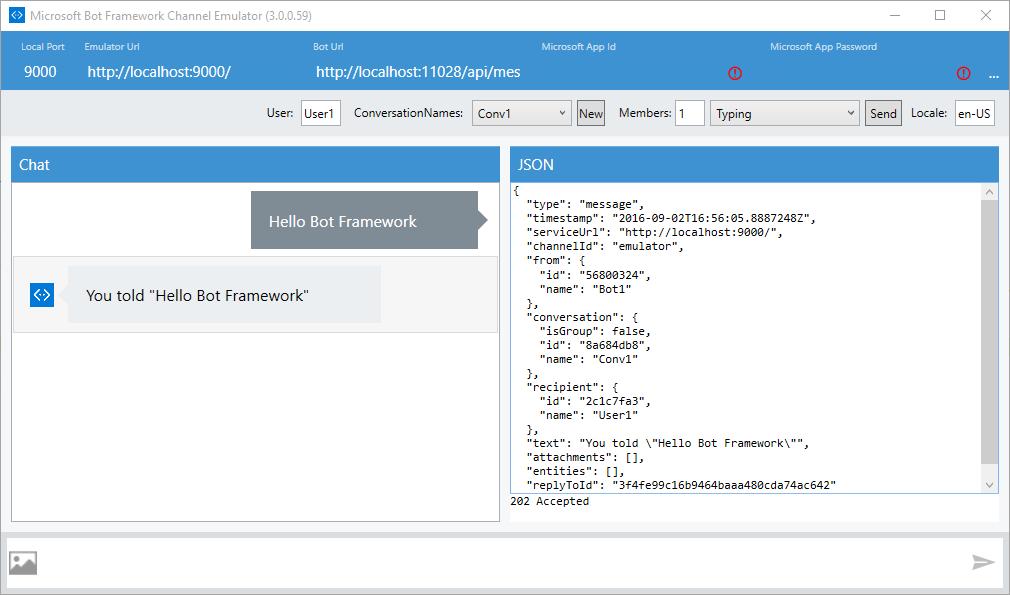 Bot Framework Channel Emulator running
