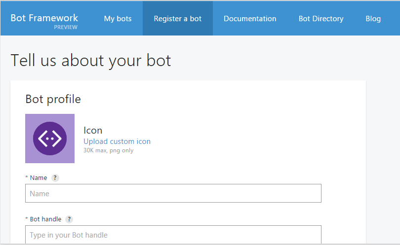 Bot Registration Page