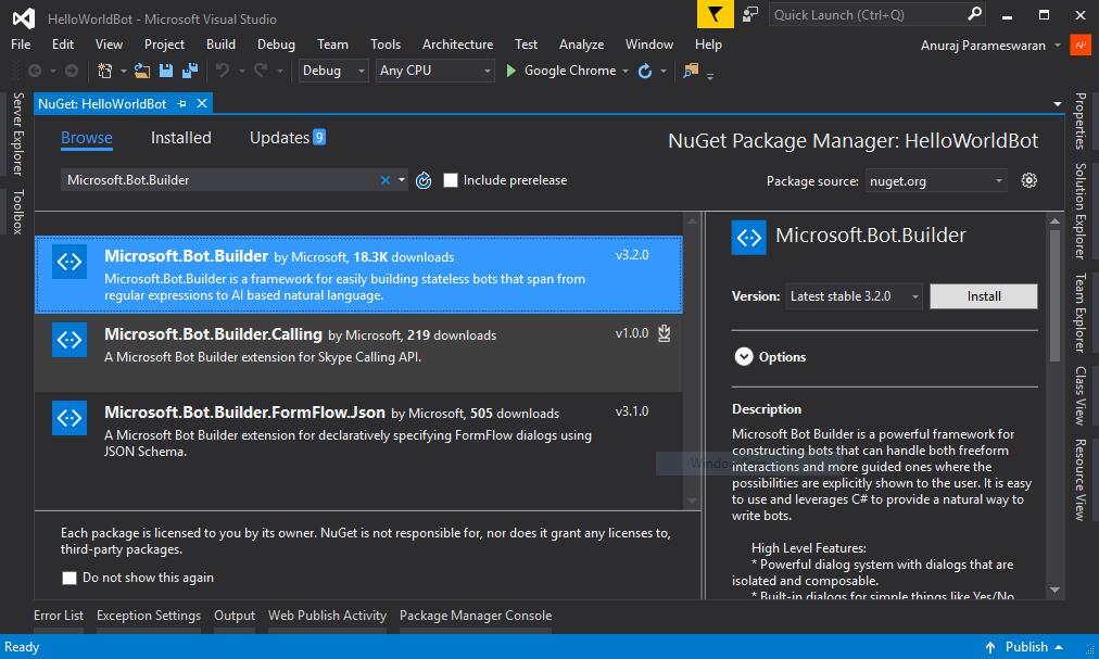 Microsoft.Bot.Builder nuget reference