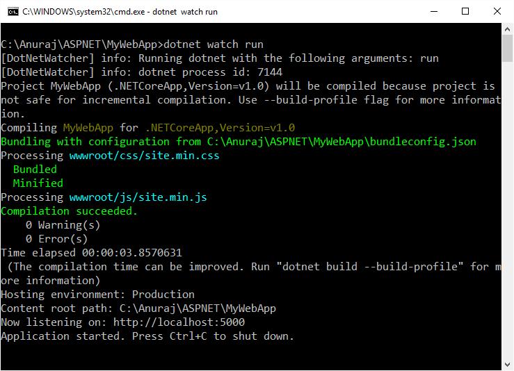 dotnet watch command line feature