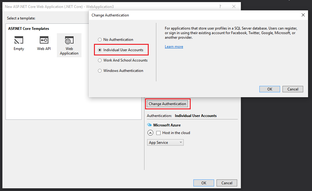 New Visual Studio project with Individual User Accounts authentication mode