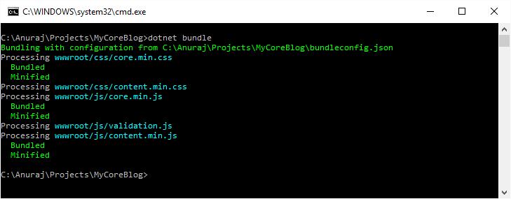 dotnet bundle command running