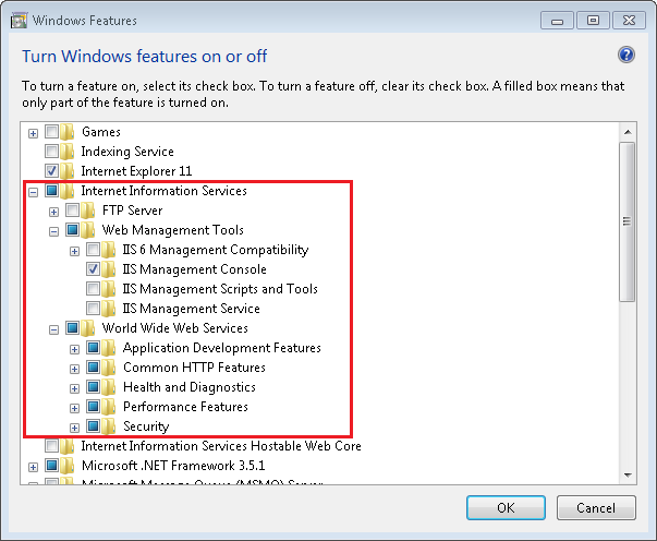 Install IIS from Programs and Features