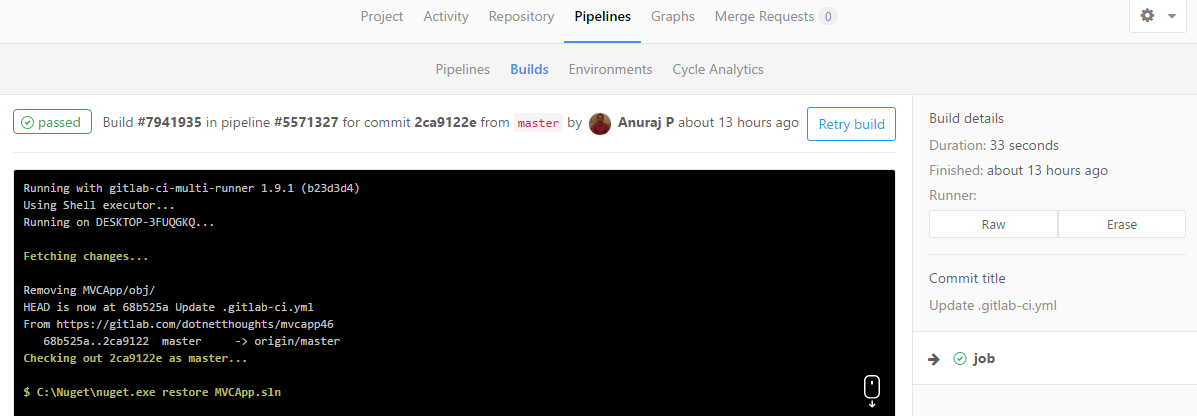 GitLab pipeline - Build successfull