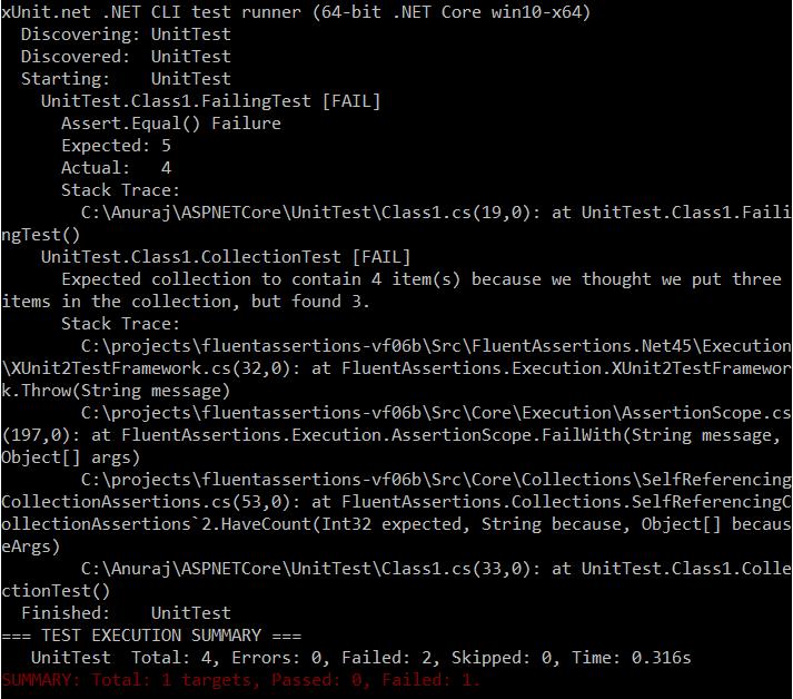 XUnit with FluentAssertions