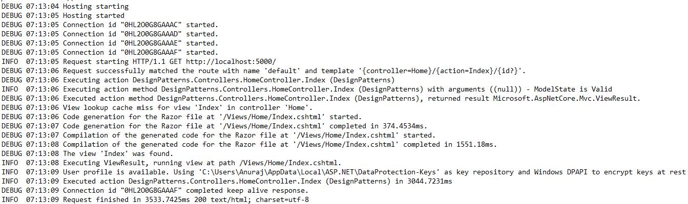 ASP.NET Core with log4net logging inside File